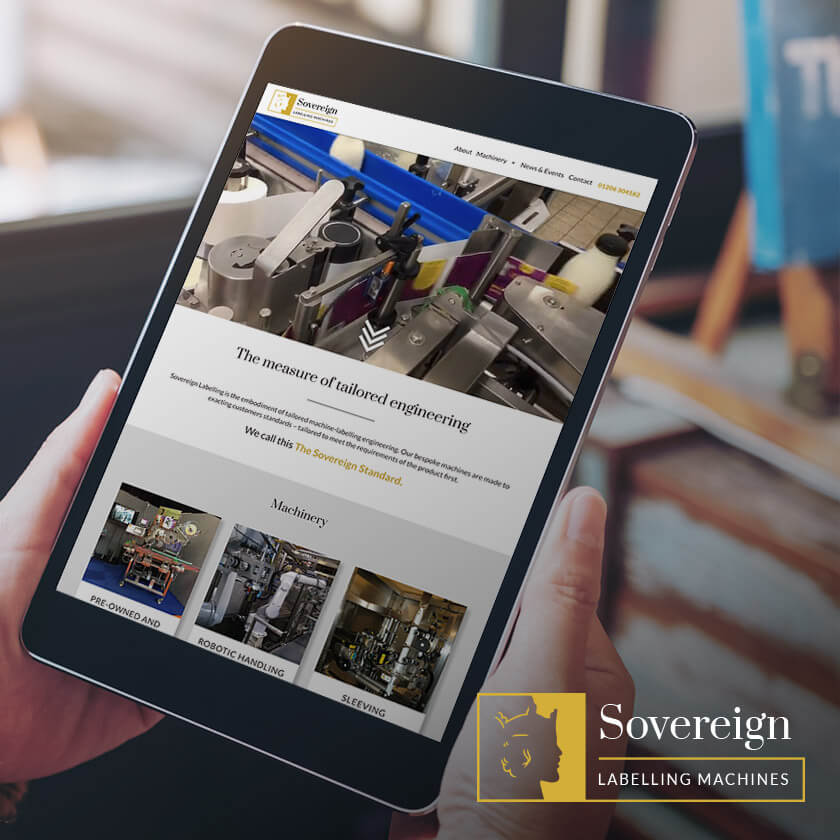 Sovereign Labelling machines website on ipad