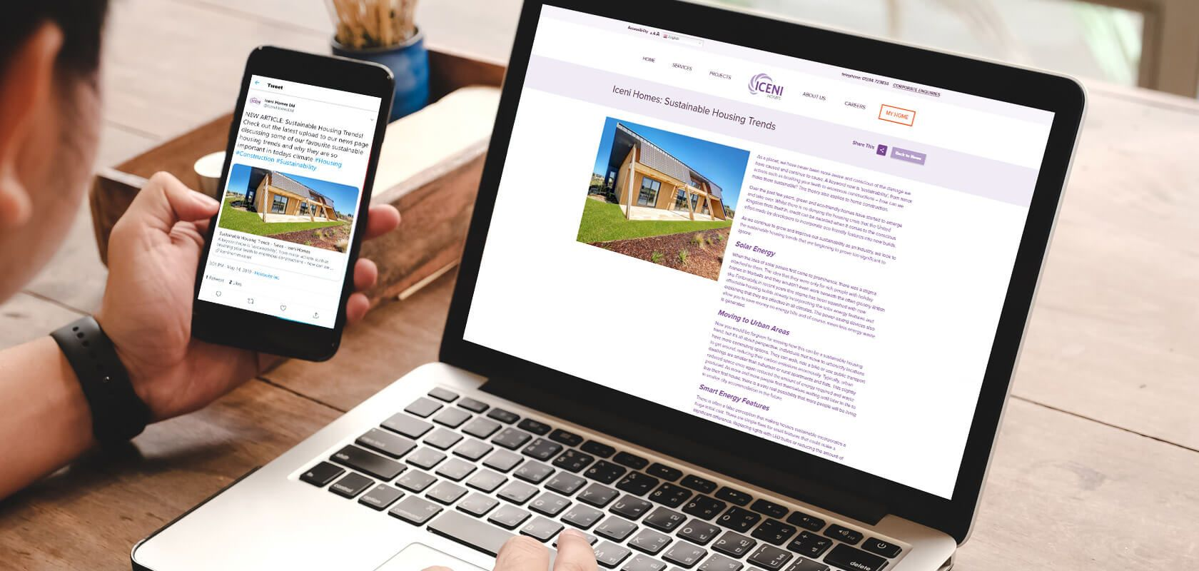 Iceni homes displayed responsively across devices