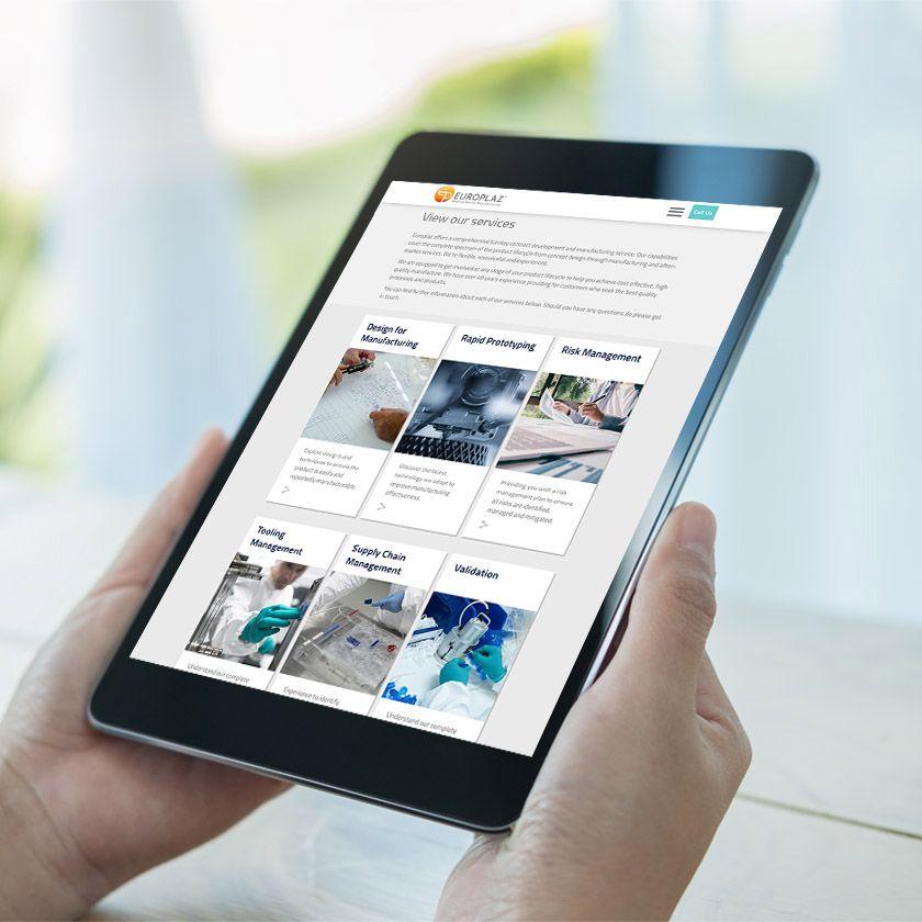 Europlaz website on a tablet device