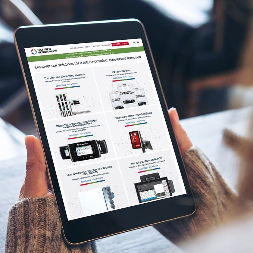 GVR EU website on tablet device